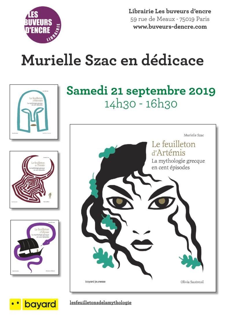 """SAMEDI 21/09 MURIELLE SZAC DÉDICACE """"LE FEUILLETON D'ARTÉMIS"""""""