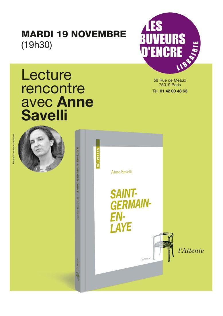 """Mardi 19/11 Rencontre avec Anne Savelli pour """"Saint-Germain-en-Laye"""""""
